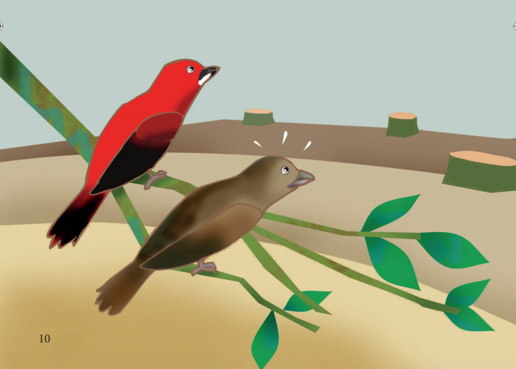 Ilustração de casal de tiê-sangeu conversando em galho de árvore
